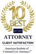 Logo Recognizing Flaherty Defense Firm's affiliation with 10 Best Attorney, Client Satisfaction
